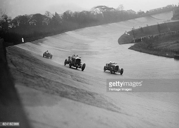 Bentleys of Eddie Hall and RO Williams and a Bugatti BARC meeting Brooklands Surrey 1931 Artist Bill BrunellBentley VdP Le Mans 4seater 4398 cc Reg...