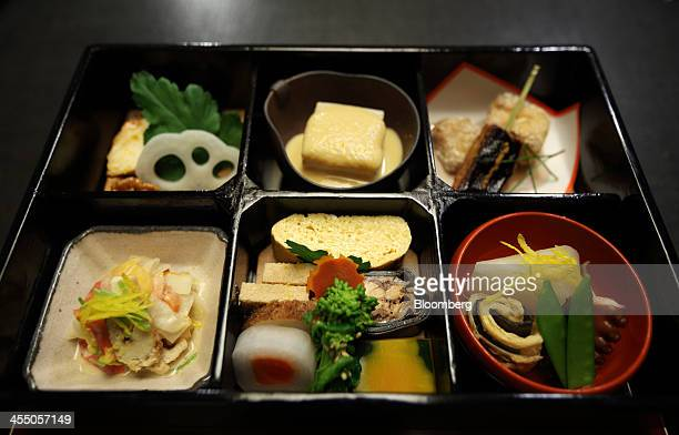 A bento box lunch is served for lunch at the Kikunoi Japanese restaurant during a media tour arranged by the Foreign Press Center/Japan in Tokyo...