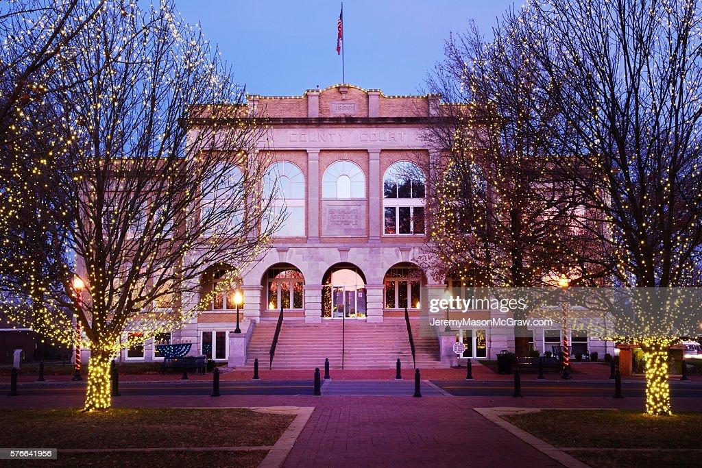 Bentonville Courthouse at Christmas : Stock Photo
