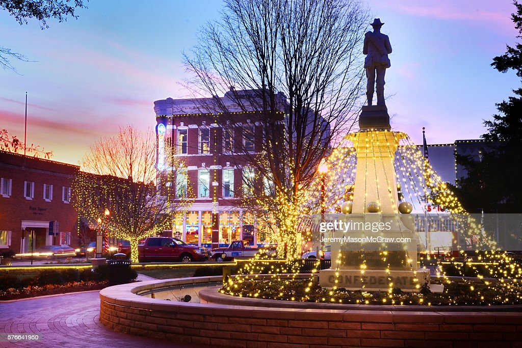 Bentonville Square Confederate Solder With Christmas Lights at Twilight : Stock Photo