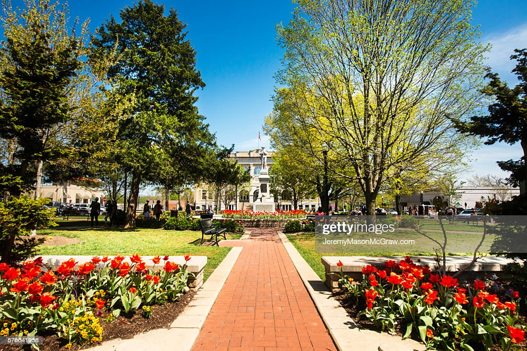 Bentonville Square in Spring with Flowers : Stock Photo