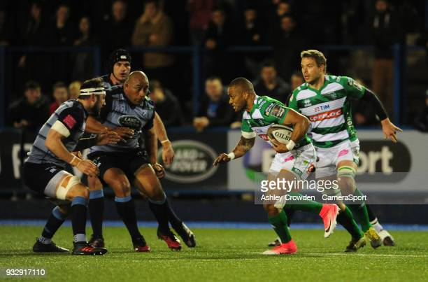 Bentton Rugbys Michael Tagicakibau during the Guinness PRO12 Round 17 match between Cardiff Blues and Benetton Rugby at Cardiff Arms Park on March 16...