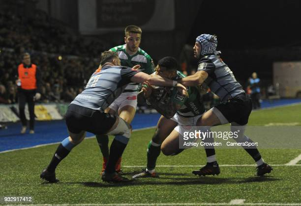TRY Bentton Rugbys Monty Ioane scores his sides second try during the Guinness PRO12 Round 17 match between Cardiff Blues and Benetton Rugby at...