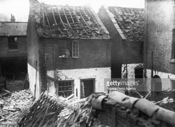 Bentwick Street, Kings Lynn, in ruins after a Zeppelin bombing raid, January 1915.