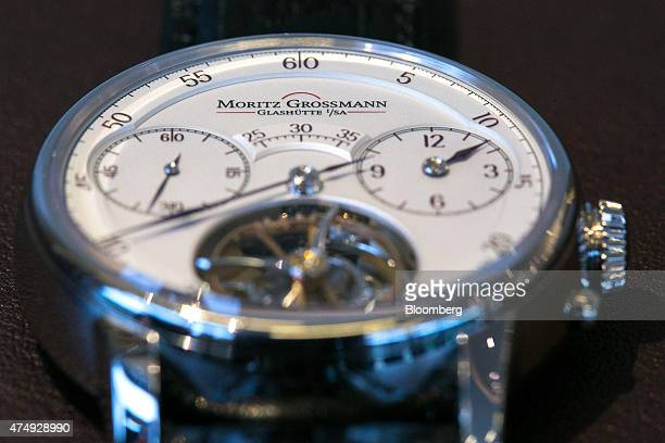 A Benu Tourbillon luxury wristwatch displays the time following manufacture at Moritz Grossmann GmbH watchmakers in Glasshuette Germany on Wednesday...