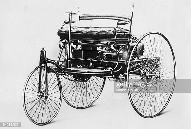 Benz Patent Motorwagen 1885 The first petrolcar a threewheels vehicle with combustion motor and electric detonator 1985