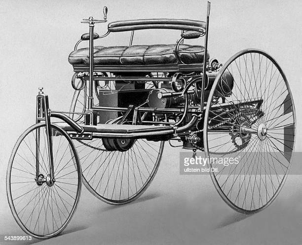 Benz Patent Motorwagen 1885 The first petrolcar a threewheels vehicle with combustion motor and electric detonator undated Published by 'BZ' Vintage...