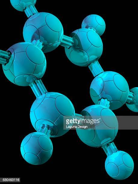 benzene, molecular model - hydrocarbon stock pictures, royalty-free photos & images