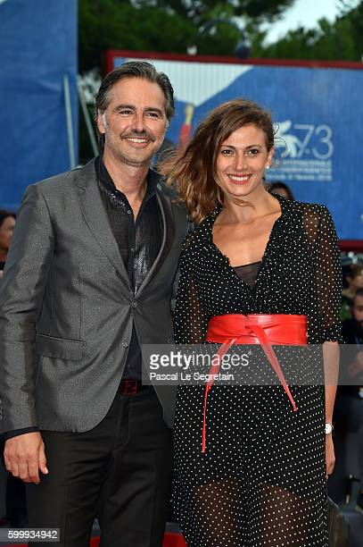 Beppe Convertini and Alessandra Carrillo attend the premiere of 'Jackie' during the 73rd Venice Film Festival at Sala Grande on September 7 2016 in...