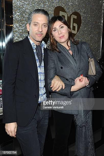 Beppe Fiorello and Eleonora Pratelli pose in the VIP room at the Dolce Gabbana show as part of the Milan Fashion Week Menswear Autumn/Winter 2012 at...