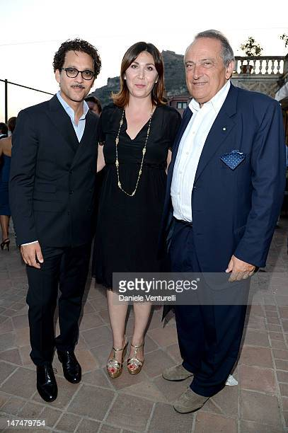 Beppe Fiorello Eleonora Pratelli and Luigi Abete attend the 2012 Nastri d'Argento Awards cocktail party hosted by Bulgari on June 30 2012 in Taormina...