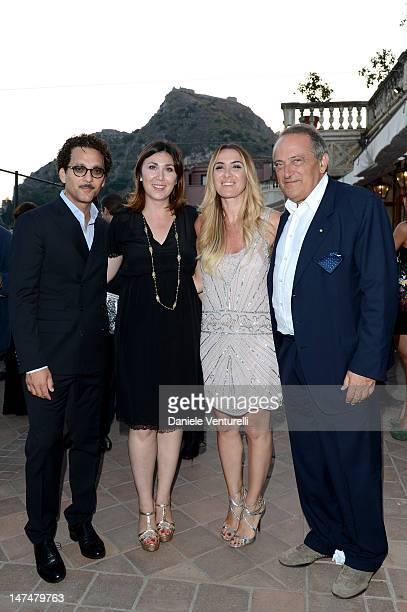 Beppe Fiorello Eleonora Pratelli Susanna Biondo and Luigi Abete attend the 2012 Nastri d'Argento Awards cocktail party hosted by Bulgari on June 30...