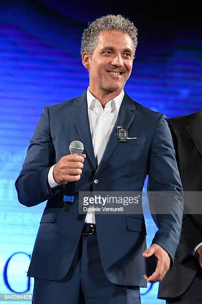 Beppe Fiorello receives Nastro D'Argento on stage during the Nastri D'Argento Awards Ceremony on July 2 2016 in Taormina Italy