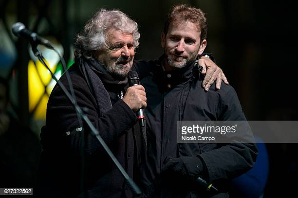 Beppe Grillo and Davide Casaleggio speak during a demonstration to support the 'No' to the constitutional referendum Italians will be called on...