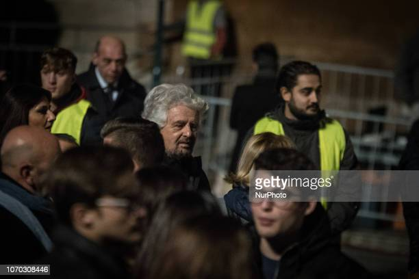 Beppe Grillo attends the turning on of Rome's christmas tree at Piazza Venezia the christmas tree is given to city of Rome from Netflix this year on...