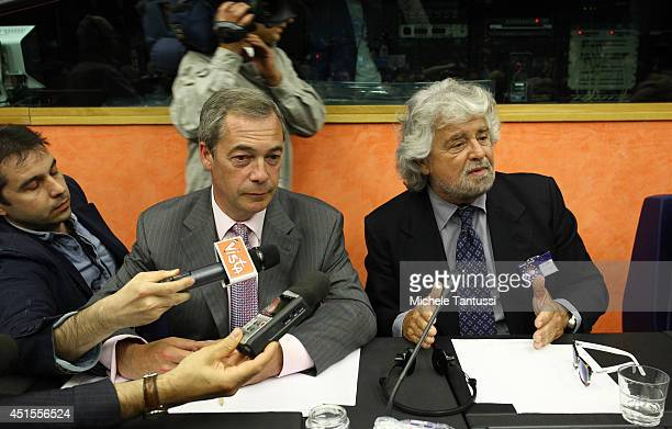 Beppe Grillo founder of the Movimento 5 Stelle and Nigel Farage leader of the UK Independence Party answer the journalists ahead of the EFDD group...