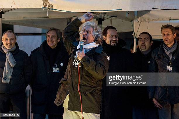 Beppe Grillo founder of the Movimento 5 Stelle speaks during a public rally for the political campaign on January 23 2013 in Pomezia Italy Grillo is...