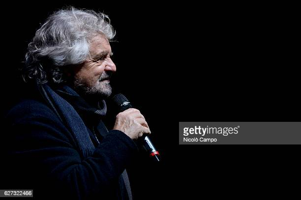 Beppe Grillo, founder of the Movimento 5 Stelle , speaks during a demonstration to support the 'No' to the constitutional referendum. Italians will...