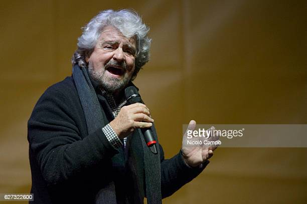 Beppe Grillo founder of the Movimento 5 Stelle speaks during a demonstration to support the 'No' to the constitutional referendum Italians will be...