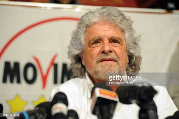 Beppe Grillo founder of the Movimento 5 Stelle speaks during the press conference about 2015 Milan Expo on May 13 2014 in Milan Italy Beppe Grillo...