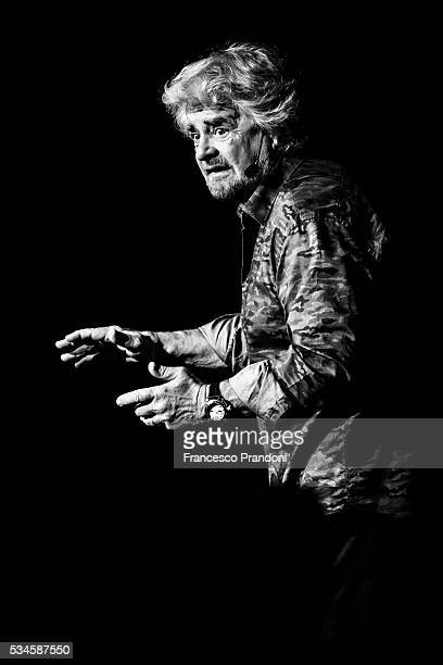 Beppe Grillo performs In 'Grillo Vs Grillo' on May 26 2016 in Milan Italy