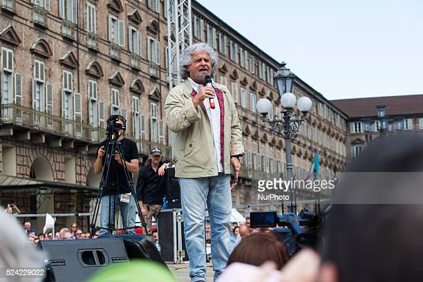 Beppe Grillo speaks in Piazza Castello in Turin to support the Movimento 5 Stelle for the next administrative and european elections.