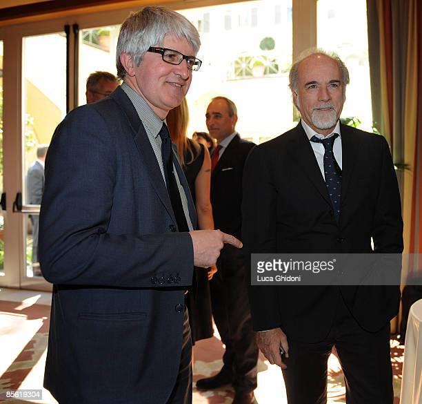 Beppe Severgnini and Antonio Ricci attend the 2008 E' Giornalismo award on March 26 2009 in Milan Italy Attilio Bolzoni of 'la Repubblica' newspaper...