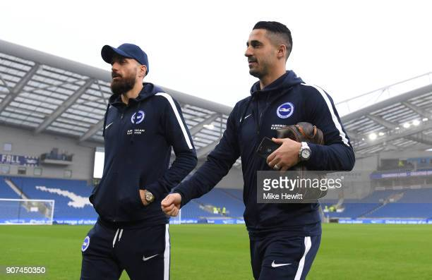 Beram Kayal and Bruno Saltor of Brighton and Hove Albion arrive prior to the Premier League match between Brighton and Hove Albion and Chelsea at...