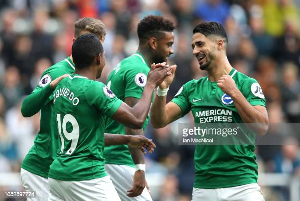 Beram Kayal of Brighton and Hove Albion celebrates after scoring his team's first goal with Jose Izquierdo of Brighton and Hove Albion during the...