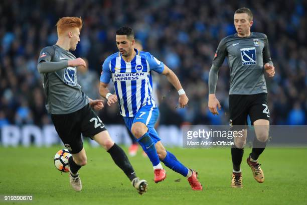 Beram Kayal of Brighton and Hove Albion in action with Jordan Shipley and Ryan Haynes of Coventry City during the FA Cup Fifth Round match between...