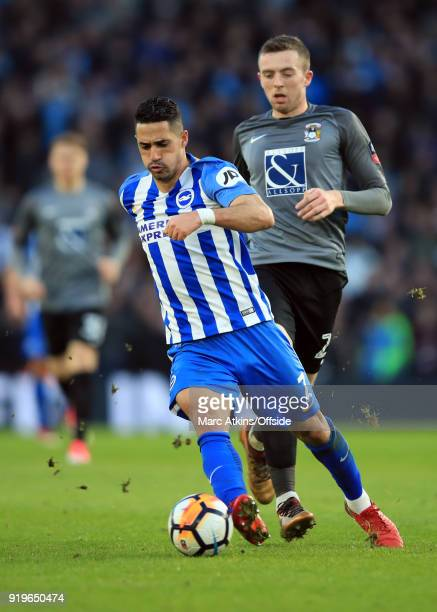 Beram Kayal of Brighton and Hove Albion in action with Jordan Shipley of Coventry City during the FA Cup Fifth Round match between Brighton and Hove...