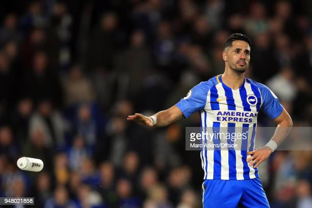 Beram Kayal of Brighton and Hove Albion throws away a water bottle during the Premier League match between Brighton and Hove Albion and Tottenham...