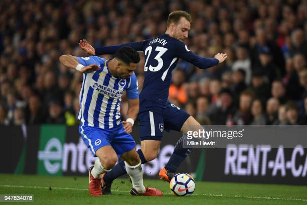 Beram Kayal of Brighton Hove Albion battles swith Christian Eriksen of Tottenham Hotspur during the Premier League match between Brighton and Hove...