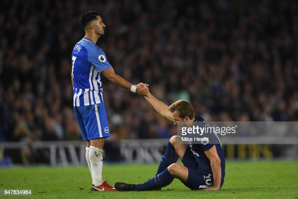 Beram Kayal of Brighton Hove Albion helps Harry Kane of Tottenham Hotspur to his feet during the Premier League match between Brighton and Hove...