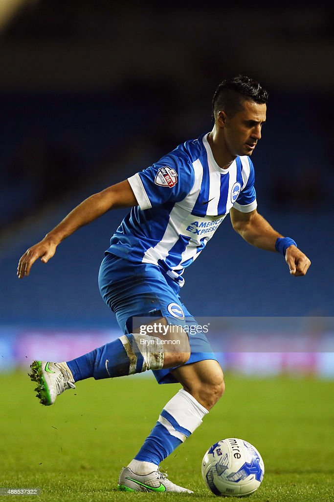 Beram Kayal of Brighton & Hove Albion in action during the Sky Bet Championship match between Brighton & Hove Albion and Rotherham United at Amex Stadium on September 15, 2015 in Brighton, England.