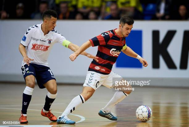 Beran Camili of Boldklubben Frem and Tobias Sana of AGF Aarhus compete for the ball during the indoor football tournament KMD Cup at Brondby Hallen...