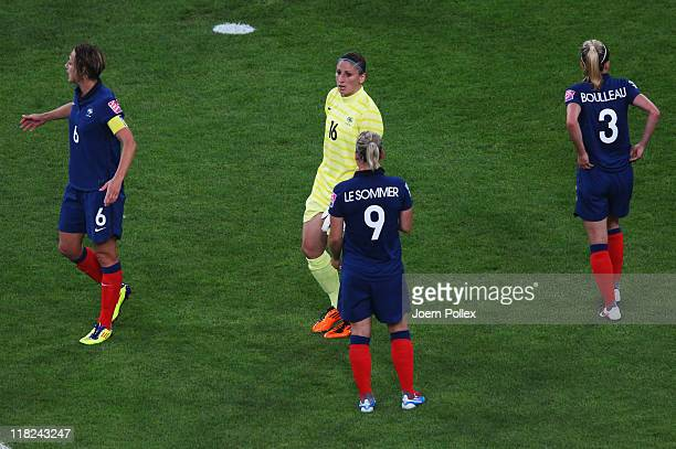 Berangere Sapowicz of France is seen after her red card during the FIFA Women's World Cup 2011 Group A match between France and Germany at Borussia...