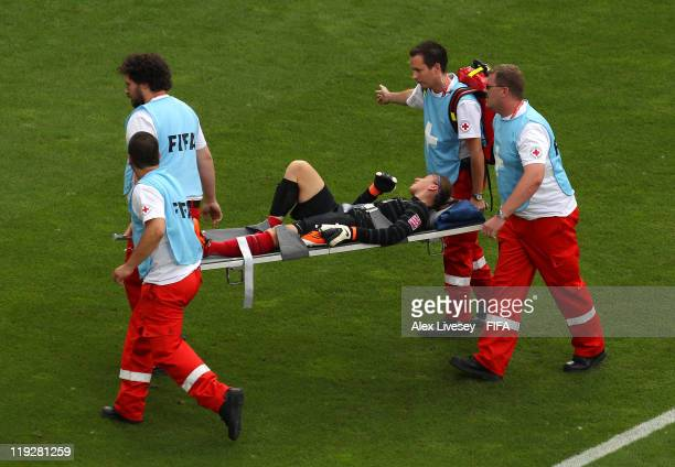 Berangere Sapowicz of France is stretchered off injured after conceding the opening goal during the FIFA Women's World Cup 3rd Place Playoff between...