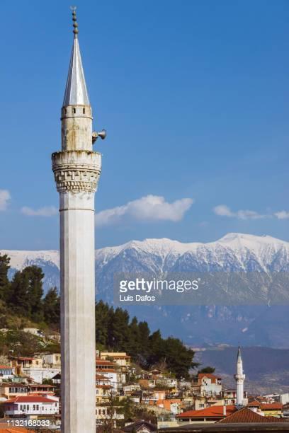berat, albania, minaret - minaret stock pictures, royalty-free photos & images