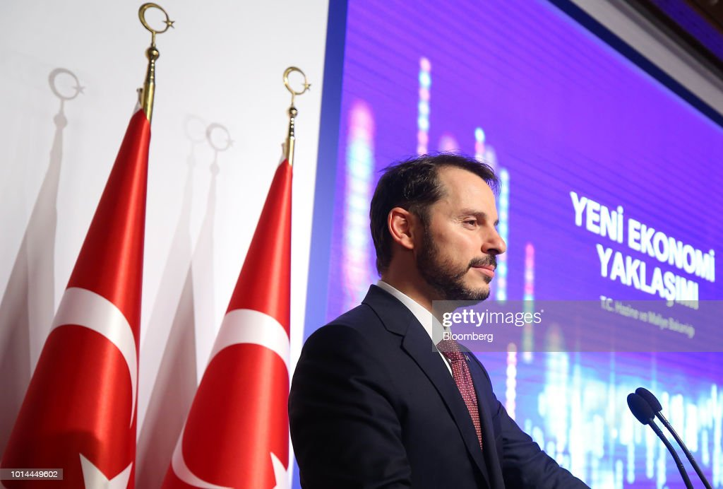 Berat Albayrak, Turkey's treasury and finance minster, pauses during a news conference in Istanbul, Turkey, on Friday, Aug. 10, 2018. In their first response to the market rout in the past week, Turkish policy makers said theyd curb economic growth ambitions to reduce borrowing. Photographer: Stringer/Bloomberg via Getty Images