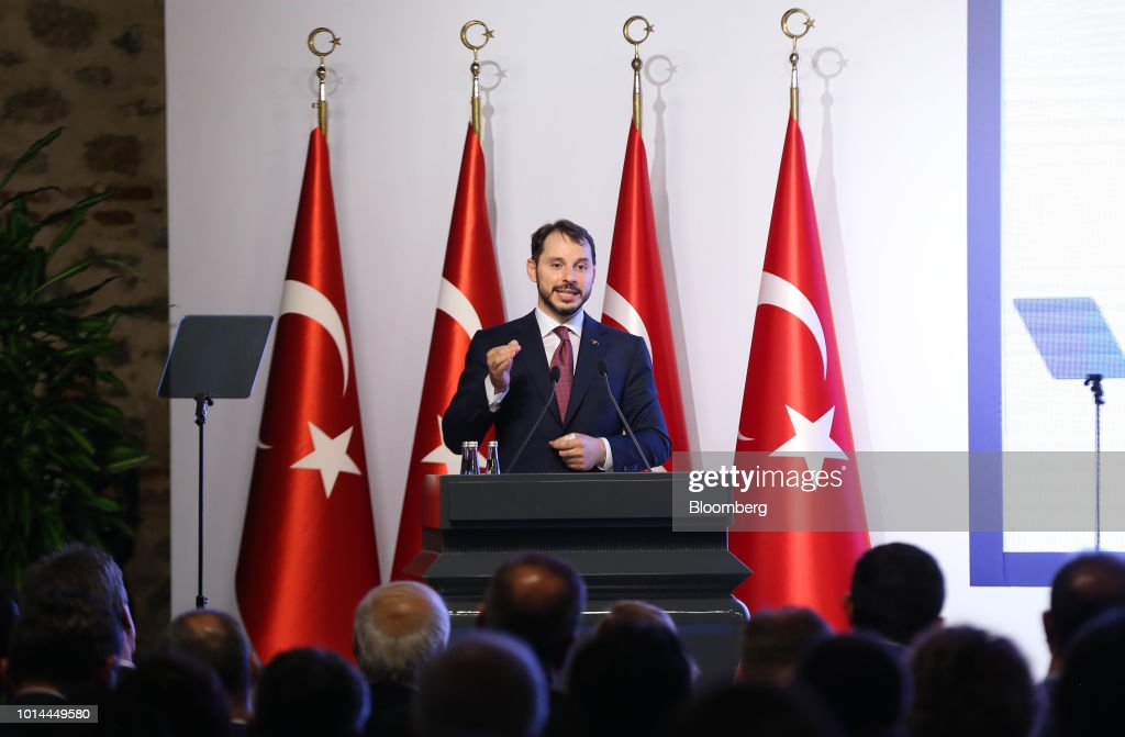 Berat Albayrak, Turkey's treasury and finance minster, speaks during a news conference in Istanbul, Turkey, on Friday, Aug. 10, 2018. In their first response to the market rout in the past week, Turkish policy makers said theyd curb economic growth ambitions to reduce borrowing. Photographer: Stringer/Bloomberg via Getty Images