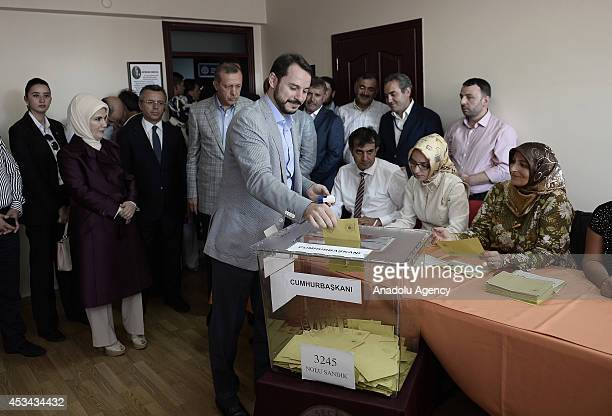 Berat Albayrak Turkish Prime Minister and Presidential candidate Recep Tayyip Erdogan's son in law casts his ballot in Turkey's Presidential election...