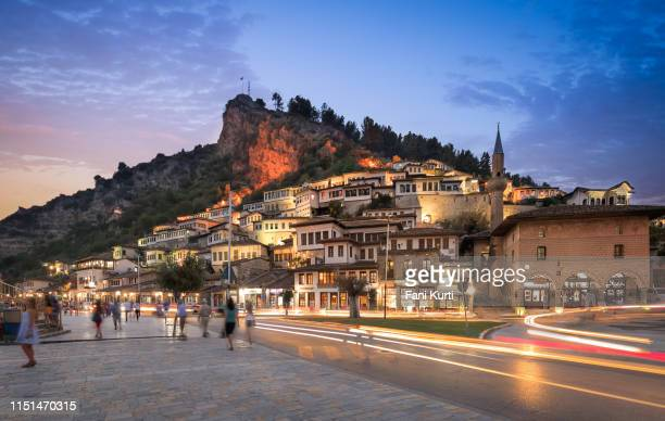berat by night - albania stock pictures, royalty-free photos & images