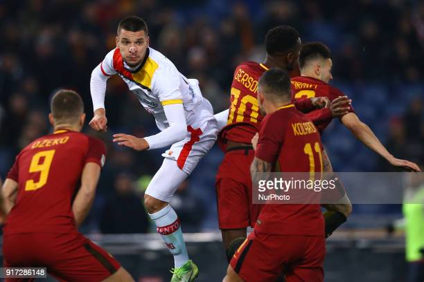Berat Djimitsi of Benevento during the serie A match between AS Roma and Benevento Calcio at Stadio Olimpico on February 11 2018 in Rome Italy