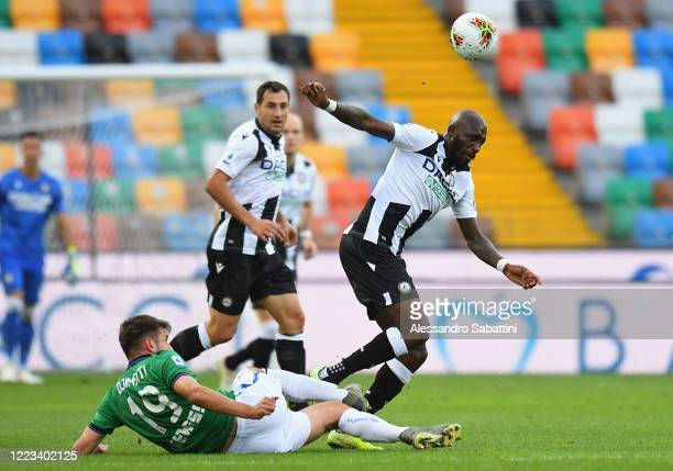 Berat Djimsiti of Atalanta BC competes for the ball with Seko Fofana of Udinese Calcio during the Serie A match between Udinese Calcio and Atalanta...