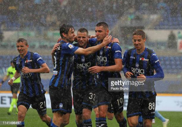 Berat Ridvan Djimsiti with his teammates of Atalanta BC celebrates after scoring the team's third goal during the Serie A match between SS Lazio and...