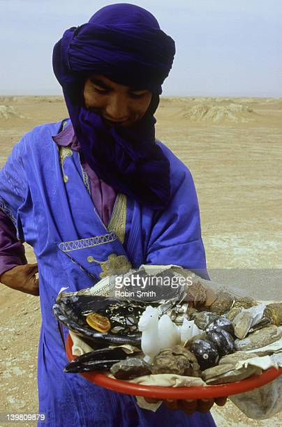 Berber selling fossils and souvenirs, Nira, Morocco