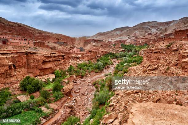 berber village with clay buildings in a valley