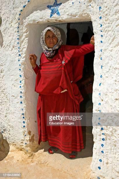 Berber woman troglodyte house Matmata Tunisia.