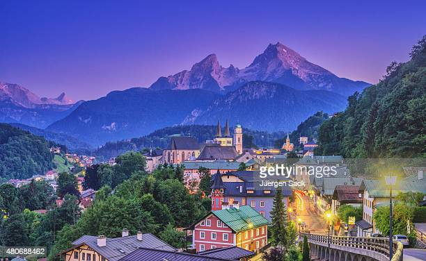Berchtesgaden and Watzmann at dusk